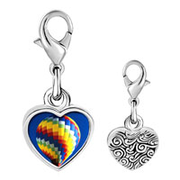 Link Charm Bracelet - 925  sterling silver gold plated travel hot air balloon photo heart frame link charm Image.