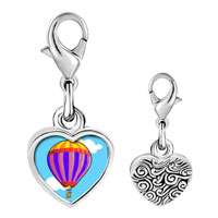 Link Charm Bracelet - 925  sterling silver gold plated travel beauty of hot air balloon photo heart frame link charm Image.