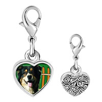 Link Charm Bracelet - 925  sterling silver gold plated travel australian shepherd photo heart frame link charm Image.