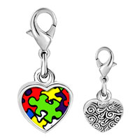 Link Charm Bracelet - 925  sterling silver gold plated word autism photo heart frame link charm Image.