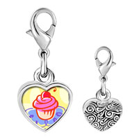 Link Charm Bracelet - 925  sterling silver gold plated food cupcake photo heart frame link charm Image.