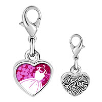Link Charm Bracelet - 925  sterling silver gold plated hobbies dress photo heart frame link charm Image.