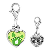 Link Charm Bracelet - 925  sterling silver gold plated sign sprout photo heart frame link charm Image.