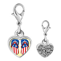 Link Charm Bracelet - 925  sterling silver gold plated hobbies usa filp flop photo heart frame link charm Image.