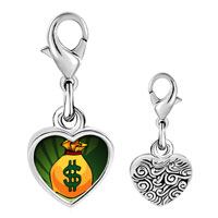 Link Charm Bracelet - 925  sterling silver gold plated hobbies money bag photo heart frame link charm Image.