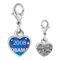 Link Charm Bracelet - 925  sterling silver gold plated character obama photo heart frame link charm Image.