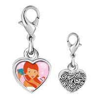 Link Charm Bracelet - 925  sterling silver gold plated hobbies makeup photo heart frame link charm Image.