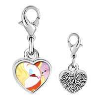 Link Charm Bracelet - 925  sterling silver gold plated hobbies loving makeup photo heart frame link charm Image.