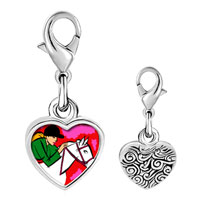 Link Charm Bracelet - 925  sterling silver gold plated hobbies ride equestrian horse photo heart frame charm Image.