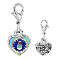 Link Charm Bracelet - 925  sterling silver gold plated phrase seal of the us patriotic photo heart frame link charm Image.