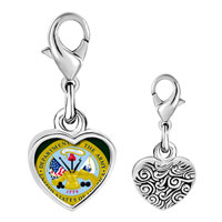 Link Charm Bracelet - 925  sterling silver gold plated phrase patriotic seal photo heart frame link charm Image.