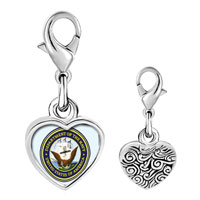 Link Charm Bracelet - 925  sterling silver gold plated character patriotic seal photo heart frame link charm Image.