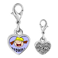 Link Charm Bracelet - 925  sterling silver gold plated fictional character brownie photo heart frame link charm Image.