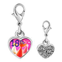 Link Charm Bracelet - 925  sterling silver 18 th photo heart frame link charm Image.