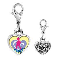 Link Charm Bracelet - 925  sterling silver doll photo heart frame link charm Image.