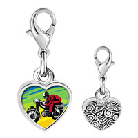 Link Charm Bracelet - 925  sterling silver motorcycle photo heart frame link charm Image.