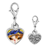 Link Charm Bracelet - 925  sterling silver kitten photo heart frame link charm Image.