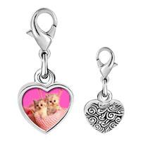 Link Charm Bracelet - 925  sterling silver kittens photo heart frame link charm Image.