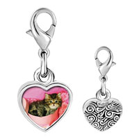Link Charm Bracelet - 925  sterling silver tabby cat photo heart frame link charm Image.