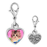 Link Charm Bracelet - 925  sterling silver naughty kitten photo heart frame link charm Image.