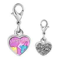 Link Charm Bracelet - 925  sterling silver multicolor shopping bag photo heart frame link charm Image.