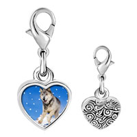 Link Charm Bracelet - 925  sterling silver running wolf photo heart frame link charm Image.