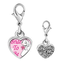 Link Charm Bracelet - 925  sterling silver bride to be photo heart frame link charm Image.
