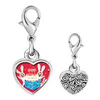 Link Charm Bracelet - 925  sterling silver happy birthday photo heart frame link charm Image.