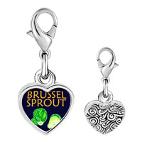 Link Charm Bracelet - 925  sterling silver brussels sprouts photo heart frame link charm Image.