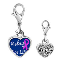 Link Charm Bracelet - 925  sterling silver relay for life photo heart frame link charm Image.