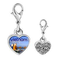 Link Charm Bracelet - 925  sterling silver vietnam photo heart frame link charm Image.