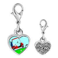 Link Charm Bracelet - 925  sterling silver golf trolley photo heart frame link charm Image.