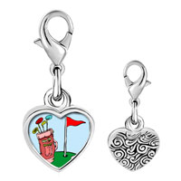 Link Charm Bracelet - 925  sterling silver cartoon clubs bag photo heart frame link charm Image.