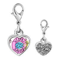 Link Charm Bracelet - 925  sterling silver life saver photo heart frame link charm Image.
