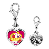 Link Charm Bracelet - 925  sterling silver icecream photo heart frame link charm Image.