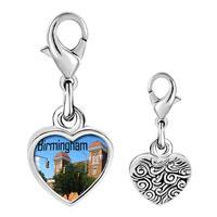 Link Charm Bracelet - 925  sterling silver birmingham scene photo heart frame link charm Image.