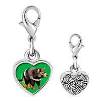 Link Charm Bracelet - 925  sterling silver racoon photo heart frame link charm Image.