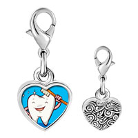 Link Charm Bracelet - 925  sterling silver tooth and brush photo heart frame link charm Image.
