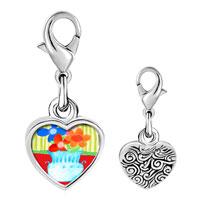 Link Charm Bracelet - 925  sterling silver vase photo heart frame link charm Image.