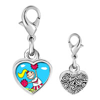 Link Charm Bracelet - 925  sterling silver cheering cheer leader photo heart frame link charm Image.