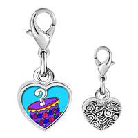 Link Charm Bracelet - 925  sterling silver gift box photo heart frame link charm Image.