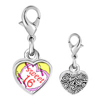 Link Charm Bracelet - 925  sterling silver sweet 16  birthday cake photo heart frame link charm Image.