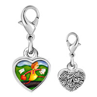 Link Charm Bracelet - 925  sterling silver running home photo heart frame link charm Image.