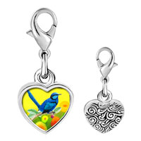 Link Charm Bracelet - 925  sterling silver thrush photo heart frame link charm Image.