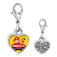 Link Charm Bracelet - 925  sterling silver little cute fireman photo heart frame link charm Image.
