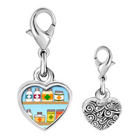 Link Charm Bracelet - 925  sterling silver medicine chest photo heart frame link charm Image.