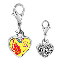Link Charm Bracelet - 925  sterling silver hand painting photo heart frame link charm Image.