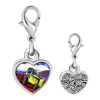 Link Charm Bracelet - 925  sterling silver tractor photo heart frame link charm Image.