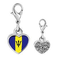 Link Charm Bracelet - 925  sterling silver barbados flag photo heart frame link charm Image.