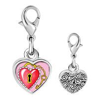 Link Charm Bracelet - 925  sterling silver heart and lock photo heart frame link charm Image.
